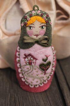 Matryoshka  Valentines Day Doll Hand by TheSnowQueensGarden, $38.50