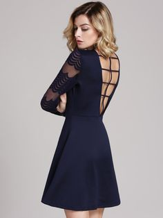 Fabric :Fabric is very stretchy Season :Fall Type :Skater Pattern Type :Plain Sleeve Length :Long Sleeve Color :Navy Dresses Length :Short Style :Sexy Material