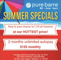 Now is your chance to lock in the saving and LTB all Summer long! Sign up now at Pure Barre Wheaton! #KentsDeals