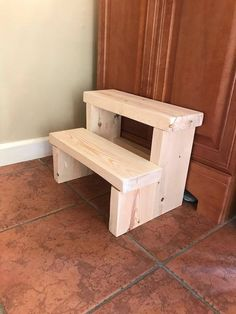 """KIDS 2 STEP STEPPING STOOL THIS STOOL MEASURES 15"""" WIDE 11 ½"""" TALL 10"""" DEEP EACH STEP MEASURES 5"""" WIDE Great for helping little hands reach the sink or the potty. We hand select the wood to show character, so each stool will be completely unique! Each step stool is carefully"""