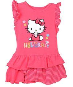 Hello Kitty Girls 2T-6X Fuchsia Stiped Ruffle Knit Dress