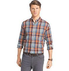Izod® Men's Long Sleeve Medium Plaid Button Down Shirt