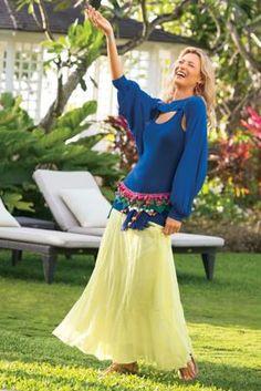 Cha Cha Skirt I - Elastic Waist Skirt, Panel Skirt   Soft Surroundings