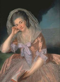 1770s - Portrait of Elizabeth Hervey, wife of the 4th Earl of Bristol, three-quarter-length, seated in a salmon pink dress with lilac bows, the Giant's Causeway, Co. Antrim by Anton van Maron