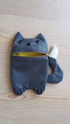 Dark grey cute cat Zip Purse Makeup Bag Coin by celmonsterdesign