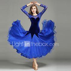 00a84e38fcf Danse de Salon Robes Femme Utilisation Dentelle   Tulle   Velours Dentelle    Fantaisie Manches Longues Taille moyenne 1 x Manuel d Utilisation   Robe  de ...
