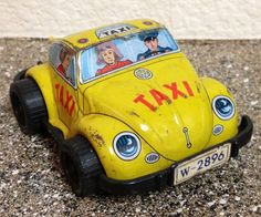 Vintage VW YELLOW TAXI -made in JAPAN TIN TOY Volkswagen Bug #unknown