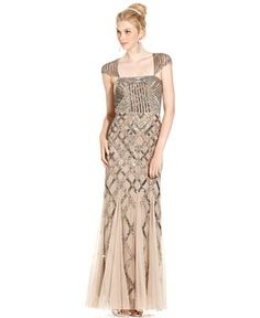 Adrianna Papell Dress, Cap-Sleeve Sequined Beaded Gown - Dresses - Women - Macy's