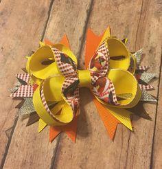 Thanksgiving hair bow, turkey, hair accessory, Fall, Turkey bow, hair bow, boutique bow, Thanksgiving by BBgiftsandmore on Etsy