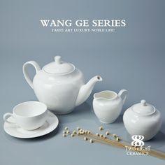 Best seller gridding porcelain Western hotel elegant ceramic tea set