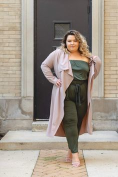 428eaa8cf45 Chicago Plus Size Petite Fashion Blogger and model Natalie Craig in Fashion  Nova Curves taupe trench coat and olive jumpsuit