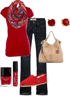 Love the way a statement scarf transforms a basic tee.  Red is gorgeous!