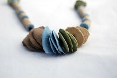 Paper clay necklace. Color necklace. Autumn Bijou. Gift Idea. Contemporary Jewelry