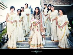 Bride with Bridesmaids in White Sarees