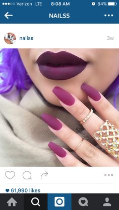 Matte purple with matte lipstick