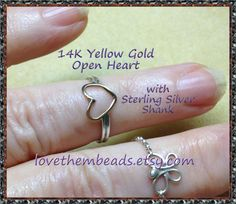 14K Gold Open Heart with  925 sterling silver shank - custom made to order - Low Profile Ring - ultra comfortable - soldered wire ring - pinned by pin4etsy.com