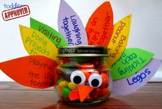 """Thanksgiving craft for preschoolers: """"I'm grateful for..."""" treat jar. Would be cute for preschool friends or cousins on Thanksgiving."""