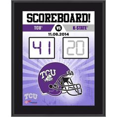 """TCU Horned Frogs Fanatics Authentic 2014 Win Over Kansas State Wildcats Sublimated 10.5"""" x 13"""" Scoreboard Plaque"""