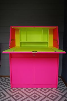 SOLD * Vintage Remploy bureau desk, painted bright neon pink and yellow, mid century desk, bespoke hand painted furniture Neon Furniture, Funky Painted Furniture, Painted Chairs, Chalk Paint Furniture, Upcycled Furniture, Bright Colored Furniture, Painted Buffet, Painted Tables, Furniture Design