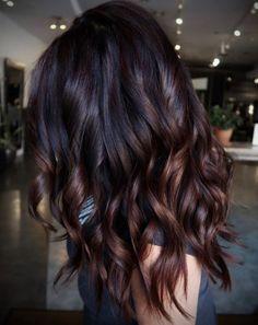 Cherry Hair Colors, Brown Hair Colors, Cherry Brown Hair, Trendy Hair Colors, Black Cherry Hair Color, Purple Brown Hair, Dark Chocolate Hair Color, Chocolate Brunette Hair, Mocha Hair