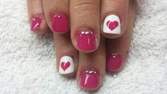 Hearts Valentines Day nails gems pink and white