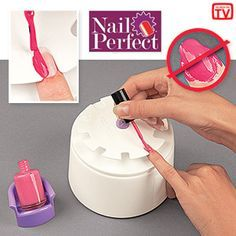 "NAIL PERFECT Product # HC4627 $14.98 CAD - Get a salon-perfect manicure without the salon prices! Hand rest makes it easy to apply nail polish cleanly and evenly-just slide each finger into the appropriate size nail slot and brush. Polish only goes onto the exposed nail surface! Keeps your hand steady, too! Includes a holder for your polish bottle, sizing discs, built-in storage drawer and over 200 nail decals. Plastic. 3-1/2""H x 5""Diam."