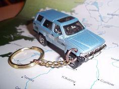 CUSTOM MINT KEYCHAIN 1985 TOYOTA 4 RUNNER 4X4 ,METALLIC BLUE W/CHROME MAGS #Matchbox #Toyota