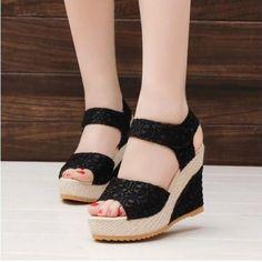 12.00$  Watch here - http://alido3.shopchina.info/go.php?t=32786995663 - Size 35-40 Women Sandals Summer New Open Toe Fish Head Fashion platform High Heels Wedge Sandals female shoes women shoes 12.00$ #buyonlinewebsite