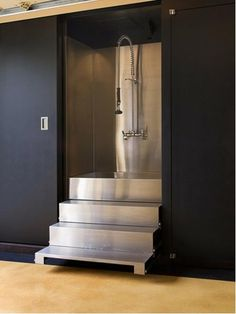 Dog Bath Design, Contemporary Stainless Steel Dog Wash Station With Staircase Also Modern Shower Head Design Also Black Door And Wall Color: Ideas for Dog Wash Station Bath Design, Dog Design, Design Ideas, Design Inspiration, House Design, Business Inspiration, Dog Tub, Os Pets, Crazy Home