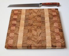End grain cutting board made from reclaimed wood