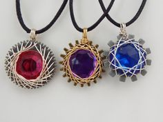 Steampunk Wire Wrapped Gem Gear Necklace