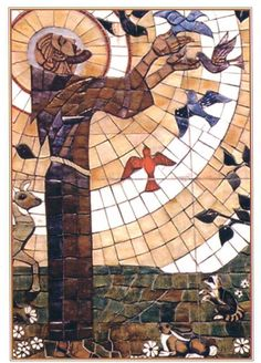 This Mass Card features a stained glass image of Saint Francis of Assisi. Christian Images, Christian Art, Ste Claire, St Francisco, Patron Saint Of Animals, St Clare's, Religion, Francis Of Assisi, History Of Photography
