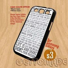 lifeisshort quote - Print On hard Case Samsung Galaxy S3 i9300   GetToMade - Accessories on ArtFire