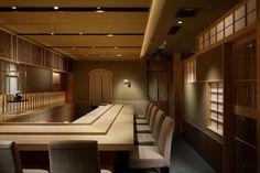 Japanese Restaurant Interior, Modern Japanese Interior, Japanese Modern, Restaurant Interior Design, Japanese Design, Restaurant Lighting, Cafe Restaurant, Sushi Bar Design, Shop Counter Design