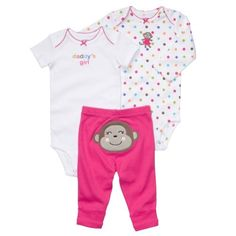 """Carter's Pink """"Daddy's Girl"""" 3 Piece Bodysuit and Pants Set (24 months) by Carter's, http://www.amazon.com/dp/B007877OF2/ref=cm_sw_r_pi_dp_Q4aLqb0W7TTC4"""