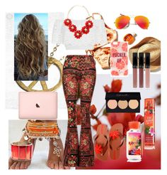 """red sun hippie"" by eliyanakubelis on Polyvore featuring GUINEVERE, Topshop, Miguelina, Kate Spade, Ray-Ban, IPANEMA and Oscar de la Renta"