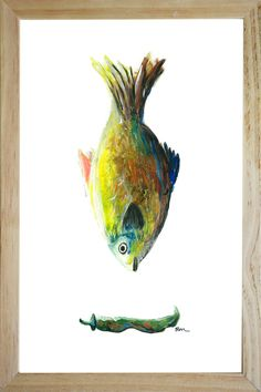 catchii home inspiration coloured fish illustration in frame hand- made