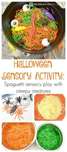 Try this fun halloween sensory play activity with organic spaghetti, natural colors and creepy halloween creatures. A taste safe activity for toddlers and kids. A Halloween sensory activity that is fun and taste safe! Halloween Toys, Halloween Activities For Kids, Creepy Halloween, Halloween Themes, Halloween Party, Halloween Camping, Toddler Halloween Games, Halloween Halloween, Sensory Activities