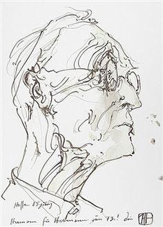 Fontane grüßt Laatzen - Hesse 85jährig By Horst Janssen ,1985