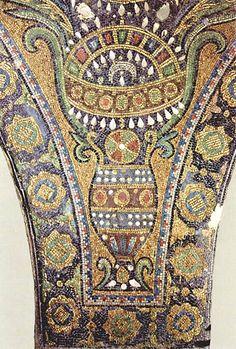 Arte Omeya. Detalle de los mosaicos de las enjutas de la Cúpula de la Roca.