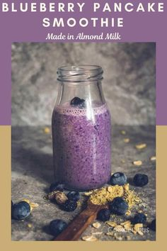 Convert your favorite vegan blueberry pancakes to Breakfast smoothies! This easy blueberry, banana, almond milk smoothie with dates is one healthy and tasty treat! Made with just a few basic ingredients, this dairy-free smoothie serves your favorite pancake flavor in the form of a creamy shake and that too in half the time! #blueberry #blueberries #smoothie #drink #breakfast #berries #pancake #vegan #dairyfree #almondmilk #dates #banana #milkshake #onthego #quick #snack #healthy Vegan Blueberry, Blueberry Pancakes, Kid Favorite Recipe, Favorite Recipes, Date Smoothie, Deep Fried Recipes, Healthy Treats, Healthy Drinks, Smoothies With Almond Milk