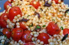 Pearl Couscous with Olives and Roasted Tomatoes  Makes 6 servings  For roasted tomatoes and dressing 2 pt red grape ...