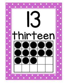 Number Posters with Ten Frames and Flash Cards (Polka Dots) Kindergarten Classroom, Classroom Decor, Number Flashcards, Number Posters, Numbers Preschool, Number Words, School Posters, Ten Frames, Math Activities