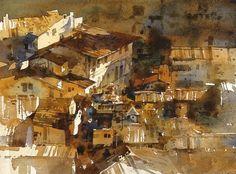 【翡冷翠的屋頂4-壓暗疊小塊】Watercolour....By Chien Chung Wei,37*27cm,簡忠威老師透明水彩課堂示範過程圖