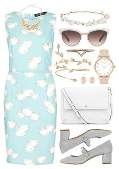 """""""Clouds"""" by bekanator ❤ liked on Polyvore featuring Sugarhill Boutique, Topshop, Tory Burch, Robert Rose, Gucci, Kenneth Jay Lane, Kate Spade, Diamonds Unleashed, rosegold and printdress"""