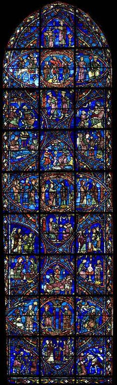 Chartres Cathedral Stained Glass – Bay Key (The Life of the Virgin) Vitrail de la cathédrale de Chartres – … Medieval Stained Glass, Stained Glass Church, Stained Glass Angel, Stained Glass Windows, Leaded Glass, Mosaic Glass, Tree Of Jesse, L'art Du Vitrail, Church Windows