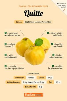 Quitten that you should know about quince Diet And Nutrition, Sport Nutrition, Tomato Nutrition, Nutrition Education, Nutrition Guide, Fruit Nutrition, Nutrition Tracker, Nutrition Month, Complete Nutrition