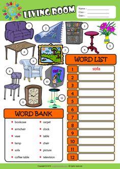 Living Room ESL Find and Write the Words Worksheet For Kids