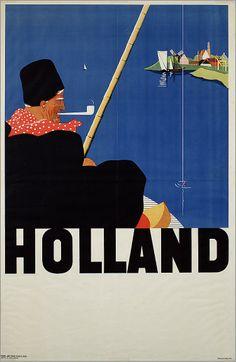 Holland [ Volendams visser] 1920-1940 ontwerper/artdirector: Molenaar, H. drukker: Adv. Bur. Nico C. Vos Toerisme affiche #NoordHolland #Volendam