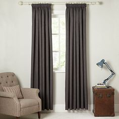 Buy John Lewis Barathea Blackout Lined Pencil Pleat Curtains Online at johnlewis.com Pleated Curtains, Pencil Pleat, John Lewis, Shoe Rack, Drawers, New Homes, Line, Shelves, Stuff To Buy